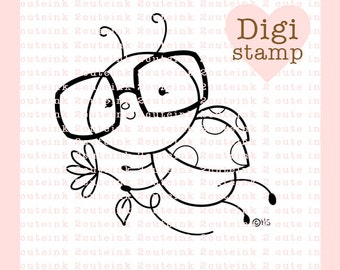 Nerdy Ladybug Digital Stamp - Bug Digital Stamp - Digital Ladybug Stamp - Ladybug Art - Ladybug Card Supply - Ladybug Craft Supply