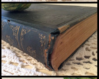 antique book, Summer Cruise in the Mediterranean by N. Parker Willis.  (c) 1853. Black Cloth HC, Gold Gilt. Shabby, distressed prop.