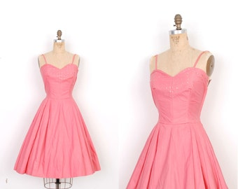 Vintage 1950s Dress / 50s Rhinestone Cotton Party Dress / Coral Pink (XS S)