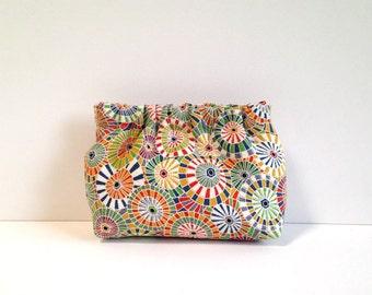 Chako mini dumpling pouch in multicolor pin wheel