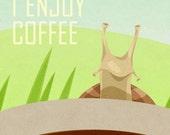 Snail Enjoys Coffee