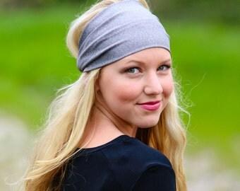 Big Head Headband, Light Gray Headband, Wrap Headbands, Ladies Headwrap, Grey Athletic Head Wrap (#1202) S