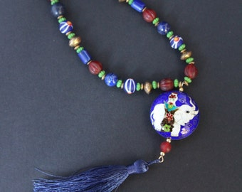 Vintage Cloisonne Elephant Pendant Necklace w Blue Lapis Vintage Blue Glass Fluted Red Glass Beads and Silky Blue Tassel Boho Jewelry