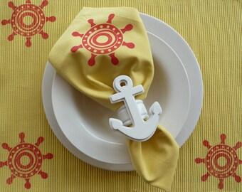 White Anchor Napkin Rings - Set of 4
