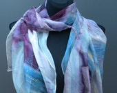 Hand painted OOAK silk chiffon scarf in purple, violet, blue and white. Purple and golden lines. Shiny, elegant piece of wearable art