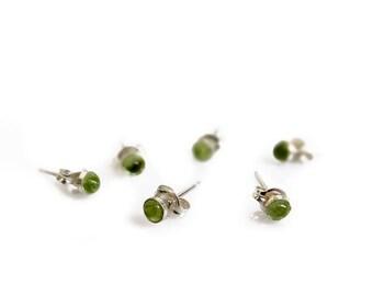 Tiny Peridot Studs, Green Peridot Earrings, Minimalist Gemstone Studs, Sterling Silver Studs, Peridot Jewelry