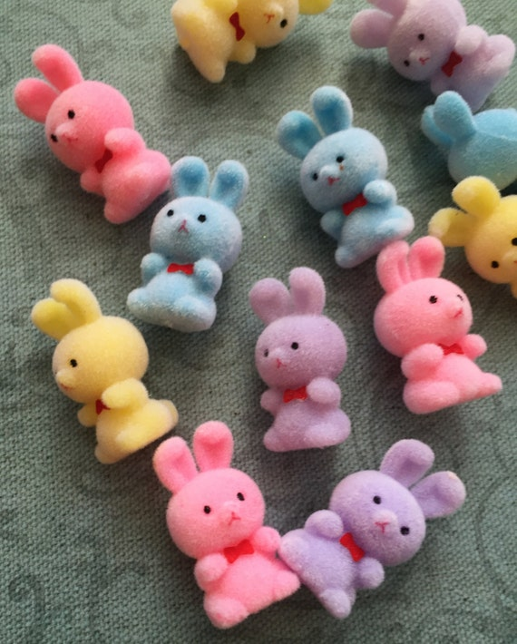 "SALE Flocked Bunny Rabbits, Pastel Colors, Packaged Set of 12 Pieces, 1.5"" Tall, Party Favors, Toppers, Crafting, Embellishment"
