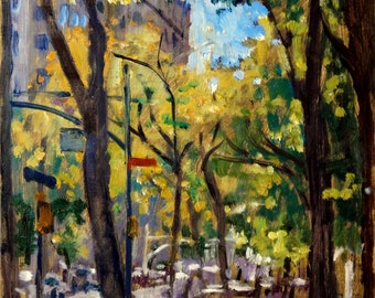 Along Central Park on Fifth Avenue, NYC. Oil on Panel, 12x9 Impressionist Cityscape, New York City Oil Painting, Signed Original Fine Art