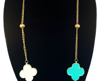 Clover Necklace,Multicolored,Layered,Gold chain Necklace,Statement Long Necklace, Elegant ,Modern,Minimalist,Jewelry by Taneesi