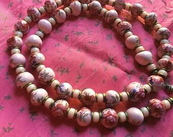 Vintage Pink Cabbage Rose porcelain beads necklace - EPSTEAM - flower bead necklace- Festival Wear- pink necklace - boho bohemian necklace