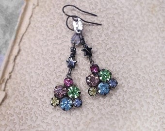 14 DOLLAR SALE Rustic Assemblage Earrings - Vintage Multicolor Rhinestone Charms under Hematite Stars - AB Pastel Gem Cluster - Pink, Green