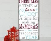 Christmas is a Time of Year  Distressed Typography Word Art Sign on Wood