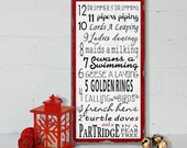 12 Days of Christmas - Typography Word Art Sign -Vintage Distressed Style Wood Print