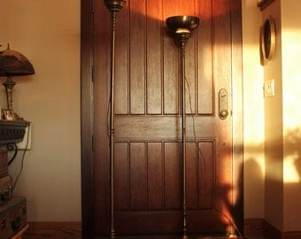 Pair of Antique Brass Torchiere Floor Lamps From old Movie Theater