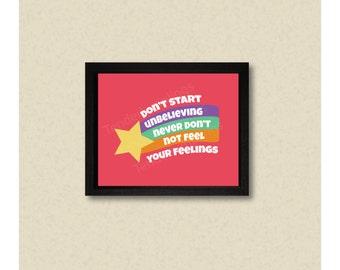Don't Start Unbelieving, gravity falls art, fan art, mabel pines, cartoon art, college room, room decor, mabel sweater, nerd poster, geek