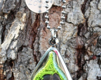 SOW SEEDS of LOVE Symbolism of Wisteria Seed Personal Terrarium Pendant - Necklace - Engraved Saying Tag - Wish Glass, Nature Jewelry