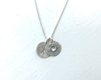 Brushed SIlver Custom Initial & Birthstone Necklace