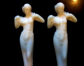 2 Old Antique White aka Ivory Milk Glass Semi Nude Figural Greek Goddess Figurines Statues Table Lamps Fixture Accessories
