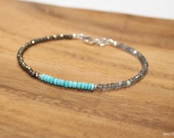Sleeping Beauty Turquoise, Labradorite & Pyrite Bracelet, Sleeping Beauty Turquoise Jewelry, December Birthstone