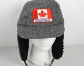 Montreal Vintage Patch Ear Flap Hat With Brim Wool Blend Gray Old Navy New Size 7 1/8