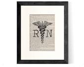 Nurse Gift, Nursing Graduation - RN Registered Nurse Caduceus over Vintage Medical Book Page - Nurse Graduation Gift, RN Gift