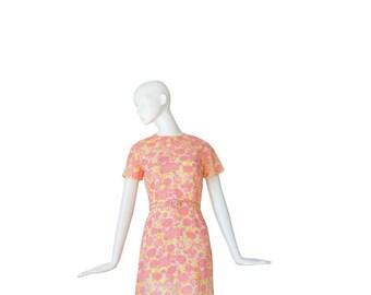 1960s Floral Dress • 60s Sheath Dress • Pink Yellow • Small / Medium