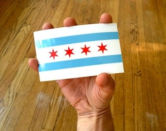 Chicago Flag Sticker, Bumper Sticker Decal, City Laptop Sticker, Midwest Illinois, Chicago City Flag, Sprouted Scribbles, Luggage Sticker