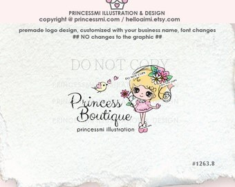 1263-8  Cute girl logo, sweet doll logo, character logo, girl business, boutique logo, watermark, girl jewelry, hair accessories