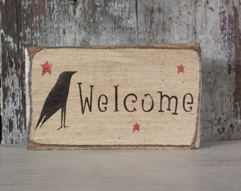 Primitive Country Welcome, Primitve Crow and Star shelf sitter,Country Decor,Rustic Crow,Crow Decor,Primitve Welcome,Shelf Sitter,#2