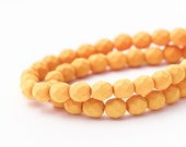 Fire Polished Deep Yellow Round Spacer Beads, Matte Opaque Saturated Pumpkin Faceted Czech Glass (6mm) x 25