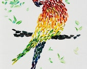 Painting ORIGINAL pointillism Colorful painting rooster impasto Textured painting Modern painting bright colors animal ready to hang gift