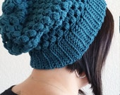 Crochet Puff Stitch Slouchy Beanie- Turquoise