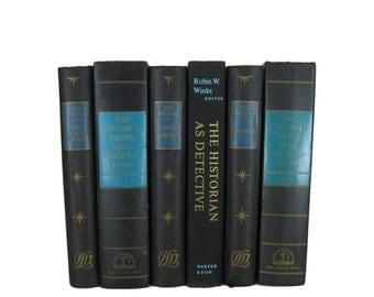 Black Blue Decorative Books , Black Vintage Books , Home Decor , Old Books , Vintage Photo Props , Table Setting , Wedding Decor