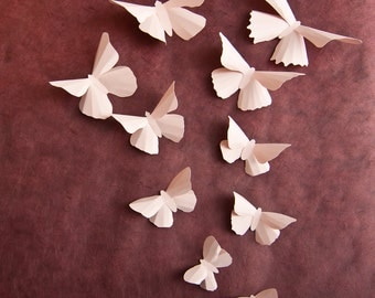 3D Wall Butterflies: Pale Pink Butterfly Wall Art for Baby Girls Room Nursery Decor