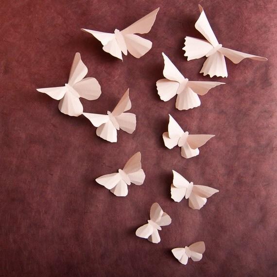 3d Wall Butterflies Pale Pink Butterfly Wall Art For Baby
