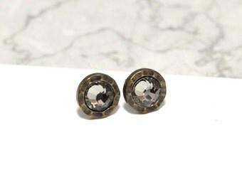 Small Stud Earrings Bezel Set with Black Diamond Swarovski Crystals