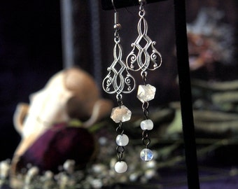 Clearance Item 30% Off Silver Herkimer Diamond Quartz Moonstone Earrings Moon Dust 3 inches
