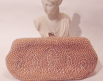 "Vintage Cream ""Du Val"" Beaded Clutch Evening Bag"