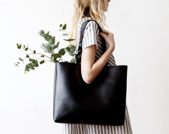 SALE Back To School Large Black Leather Tote bag No. Ltb-1507