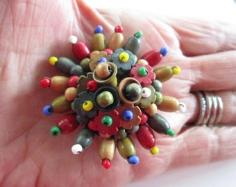 """Vintage Czech Mariam Haskell ? Style Wood Bead Brooch-2"""" Diameter-Excellent Condition-Signed CZECH"""