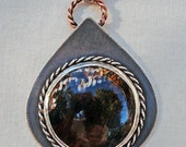 Sterling and Petrified Wood Cabochon Pendant Handmade