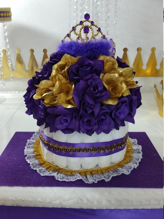 Purple gold diaper cake centerpiece for princess baby shower