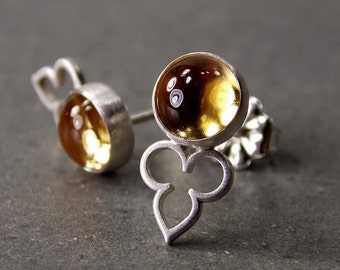 Gemstone Post Earrings, Citrine Earrings, Sterling Silver