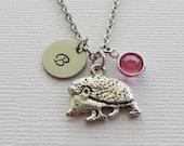 Hedgehog Pewter Necklace Porcupine Necklace Prickly Animal Jewelry Swarovski Birthstone Silver Initial Personalized Monogram Hand Stamped