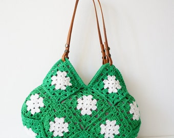 Women handbag.Hand Crochet bag. Crochet handbag. Women bag. Leather Bag.Crochet Purse.Handmade handbag Green handbag