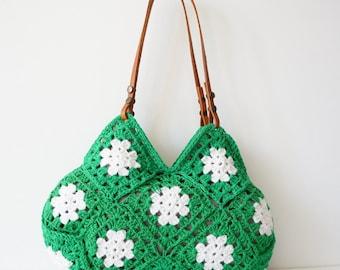 Women handbag.Hand Crochet bag. Crochet handbag. Women bag. Leather Bag.Crochet Purse.Handmade handbag Green handbag