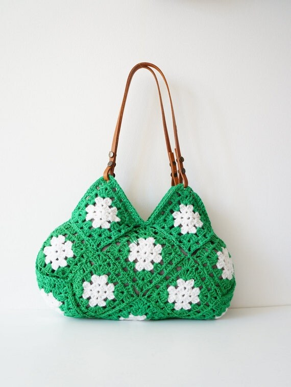 .Hand Crochet bag. Crochet handbag. Women bag. Leather Bag.Crochet ...