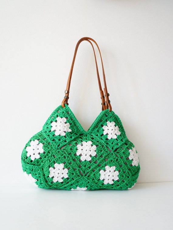 Crochet Ladies Bags : .Hand Crochet bag. Crochet handbag. Women bag. Leather Bag.Crochet ...