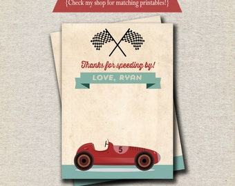 Retro Race Car Thank You Card - red and aqua   Vintage Race Car Thank You Card   Race Car Birthday Party Printables   digital printable