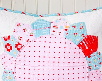 Quilted Pillow Cover - Pillow Sham - Quilted Pocket Pillow - Bake Shop Fabric Collection
